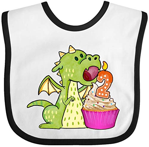 Inktastic - Dragon Cupcake 2nd Birthday Baby Bib White/Black 31cde
