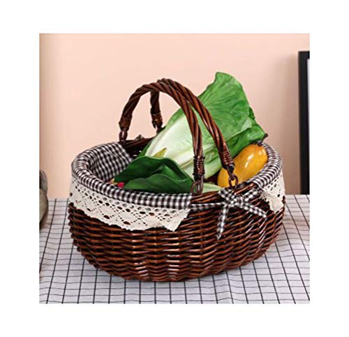 My-JUAN.97 Fruit Bowl- Fruit Baske Willow Woven Outdoor Fruit Plate Outing Fruit Dish Picnic Fruit Tray Storage Compor -Fruit Basket (Color : E, Size : 16cm)