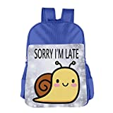 Yanhong Sorry I'm Late Unisex School Bookbag Backpack For 4-15 RoyalBlue