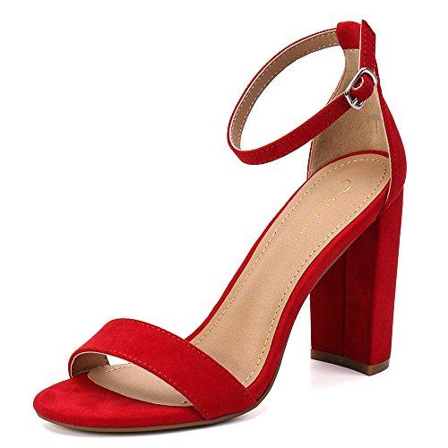 (Moda Chics Women's High Chunky Block Heel Pump Dress Sandals Red MF 8 D(M) US)
