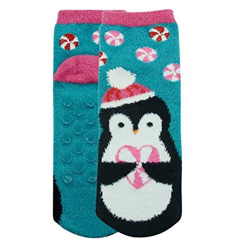 Fluffy Socks for Women,Cozy Warm Cute Animal Penguin Anti-slip Slipper Novelty Gift Socks Vive Bears 2 Pairs ()