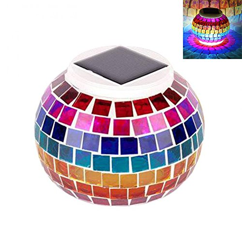 Solar Powered Mosaic Night Lights, Alotm Color Changing Solar Glass Jar Light, Waterproof Table Lamps, Home Bedroom Garden Lawn Solar Lights for Indoor / Outdoor Parties Decorations & Ideal Gifts (Storing Lights Icicle)