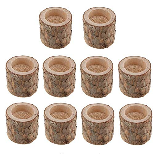 10Pcs/set Natural Tree Stump Stake Wooden Candle Holder, Handmake Tea Light Holder, Candlelight Stand, Wooden Candlestick Base for Home Party Bar Art Decoration Dinner Wedding Party Supplies