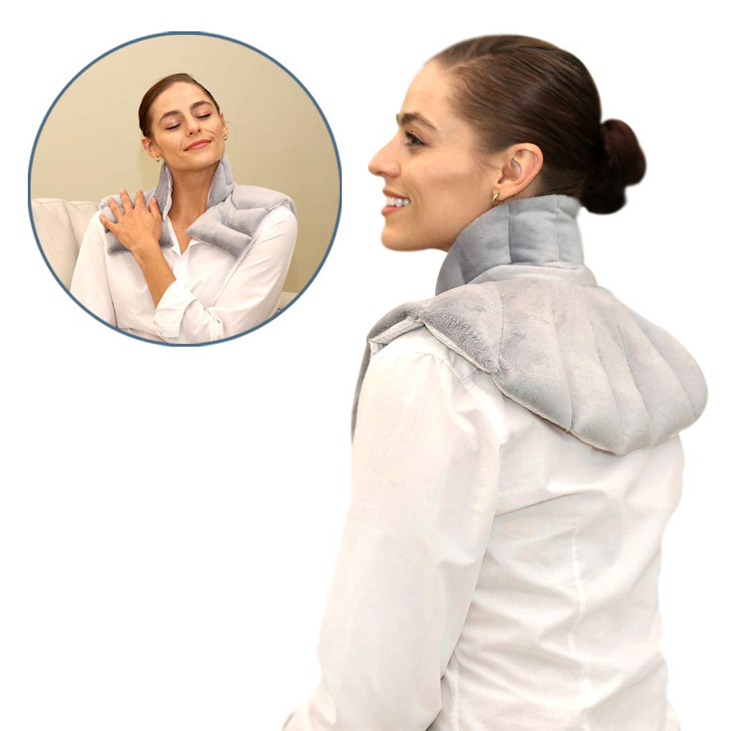 Heating Pad Solutions - Neck Buddy Plus Microwave Heating Pad for Neck, Shoulder & Back | Reusable Hot Cold Pack for Natural Pain Relief | Heat Pack for Sore Neck Pain, Aching Muscle and Stiff Joints