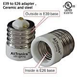 2 Packs Ali Tronics E39 to E26 Adapter (Mogul Base E39 to Medium Base E26), UL Listed,Ceramic Material-high Voltage and High Temperature Resistant