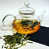 Premium Glass Teapot Kettle 27oz (800ml), Hand Blown & Stovetop Safe, with Removable Glass Tea Infuser and Bonus Microfiber Cloth, Eco-friendly and Sustainable, Perfect Gift