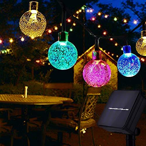 Usboo® Solar Lichterkette, 60 bunte LEDs 10 Meter für Innen & Außen mit Kristallkugeln, wasserdichten Kupferdrähten für Zimmersdekorationen, Feste, Garten, Balkons, Partys, Hochzeiten, Kinder usw.