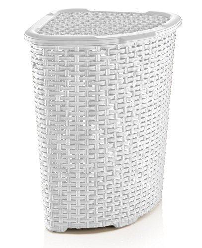 Rattan Laundry Hampers - Rattan (Wicker Style) Corner Laundry Hamper 1.47 Bushel / 52 Liter