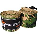 Meister Adult 180' Semi-Elastic Hand Wraps for MMA & Boxing (Pair) - Army Camo