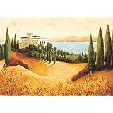 Fertig-Bild - Claudia Ancilotti: Il Castillo 30 x 40 cm Toskana Villa See Felder Italien orange grün Gehöft Landgut