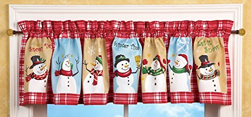 Collections Etc Festive Snow Time Country Snowman Window Valance with Red and White Checkered Plaid Border - Holiday Home Accents