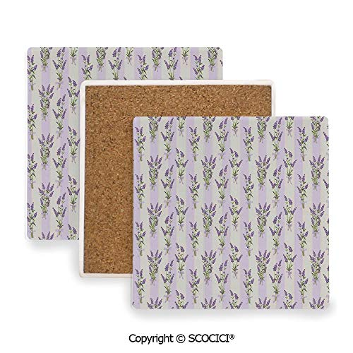 (Ceramic Coasters with Cork Base, Prevent Furniture from Dirty and Scratched, Suitable for Kinds of Mugs and Cups,Lavender,Stripes and Flowers with Ribbons Romantic Country,3.9