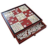 Ruby Red Wood Sudoku Board Game Set with Drawer - Extra Large 15 Inch Set - Comes with Large and Small Wooden Pieces
