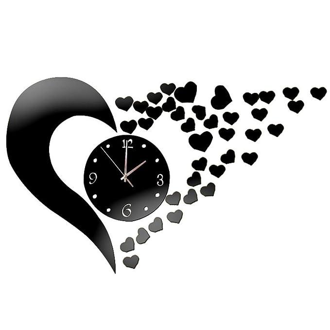 Werldbm Reloj Espejo DIY Acrílico Reloj de Silencio Carteles ...