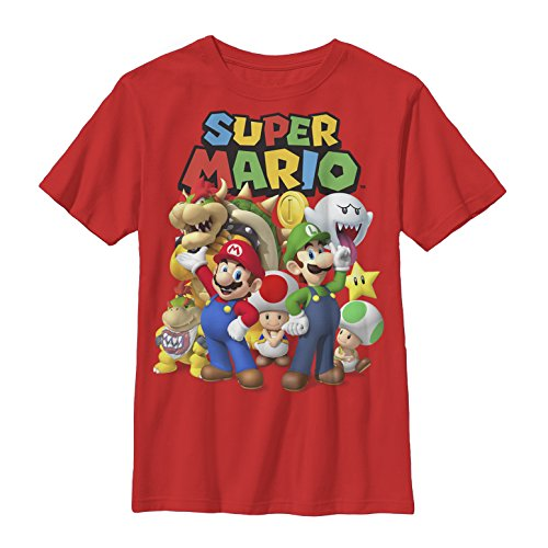 Nintendo Big Boys Super Mario Groupage Graphic T-shirt, Red, YXL