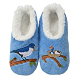 Snoozies Womens Classic Splitz Applique Slipper Socks | Mother Bird | Large