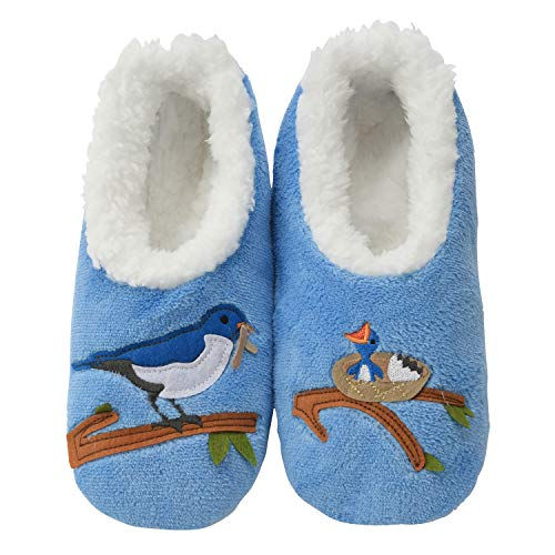Snoozies Womens Classic Splitz Applique Slipper Socks | Mother Bird | Small