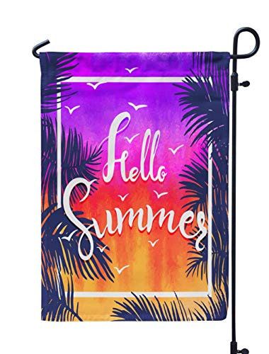 (Soopat Sunshine Seasonal Flag, Watercolor Hello Summer Colors Sunset Twilight Weatherproof Double Stitched Outdoor Decorative Flags for Garden Yard 12''L x 18''W Welcome Garden Flag)