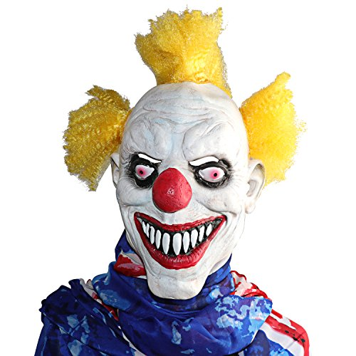 Cheap Scary Clown Costumes (XIAO MO GU Latex Halloween Party Cosplay Face Mask Clown Costumes Mask(Yellow Hair))