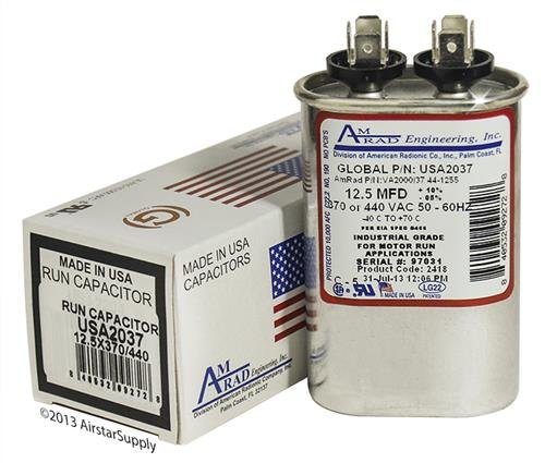 2 Pack Made in The U.S.A. Miller 621186-12.5 uf 370//440 Volt Volt VAC AmRad Oval Run Capacitor