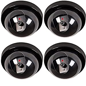 WALI 4 Pack Santa Camera Dummy Fake Security CCTV Dome Camera with Flashing Red LED Light with Warning Security Alert Sticker Decals
