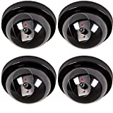 WALI 4 Pack Dummy Fake Security CCTV Dome Camera with Flashing Red LED Light with Warning Security Alert Sticker Decals