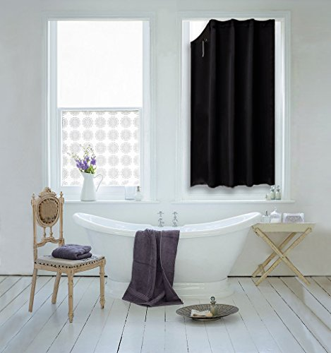 Suction Cups Blackout Solid Blind Curtain - NICETOWN Versatile Anywhere Portable Lightweight Plain Drape for Dormer (One Piece,51' Wide by 78' Long, Black)