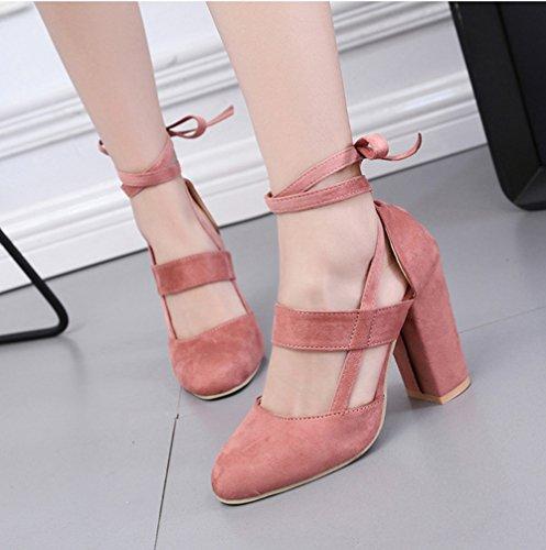 Tacón Rosa Mujer de Punta con Cerrada AARDIMI Zapatos 1wqEHOv