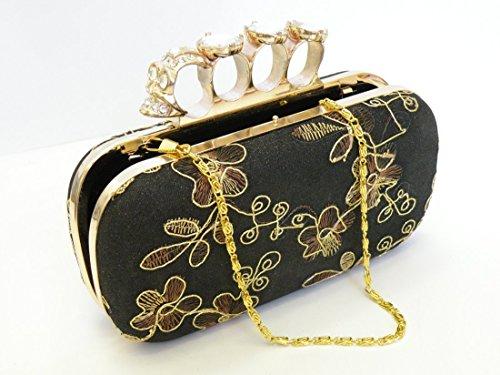 Floral Crystal Rhinestone Ring Clutch Handbag Wallet Purse ... Evening Bag Clutch Crystal Purse Party Bag With Elegant Heavy Duty Frame and Shoulder Chain. (Clutch Elegant Frame)
