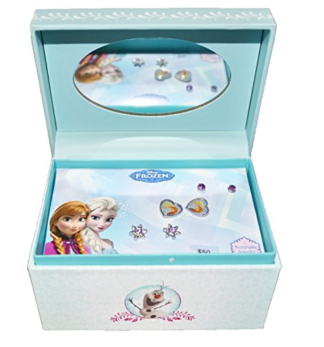 Disney Characters Earrings Assorted 3 Pack Keepsake Mirror Jewelry Box Set (Blue (Frozen))