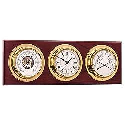Barigo Weather Station w/Ship's Barometer, Comfortmeter & Quartz Ship Clock - Brass & Mahogany - 3.3 Dial