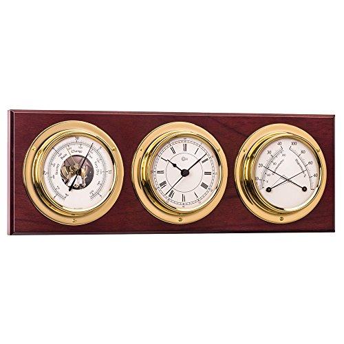 Mahogany Barometer (Barigo 386MSMA Dial Weather Station with Ships Barometer, Brass - Mahogany)