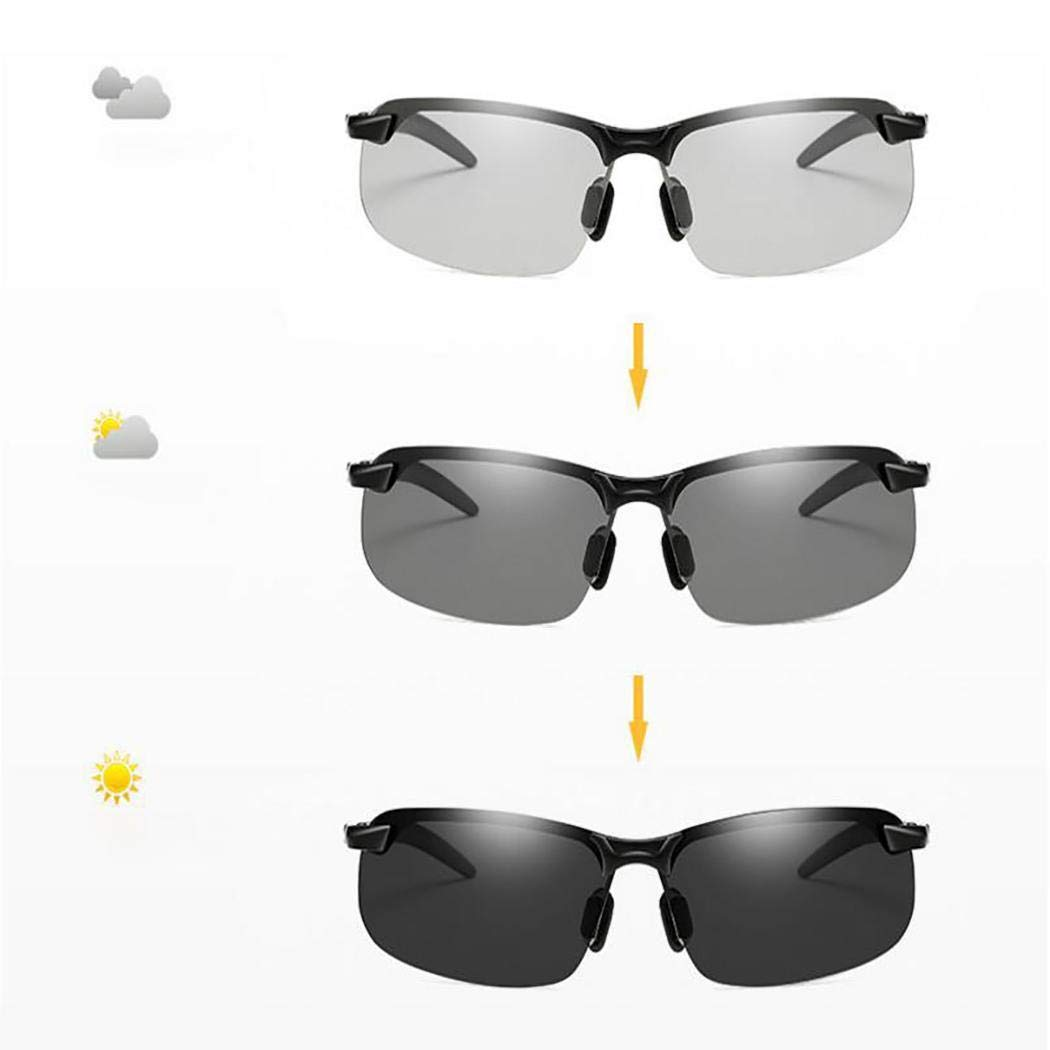 Whatyiu Men Half-Frame Color Change Lens Polarized Driving Sports Sunglasses