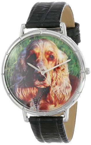 Cocker Spaniel Whimsical Watches Women's T0130027 Black Leather And Silvertone Photo Watch