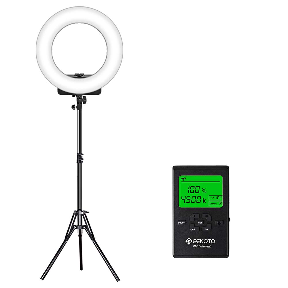 GEEKOTO 18-inch Ring Light with Remote Control and LCD Display Dimmable 3300-5600K for Smartphone and Camera for Live Streaming Makeup Vlogging Selfie by GEEKOTO