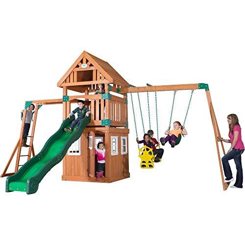 astle Peak All Cedar Wood Playset Swing Set ()