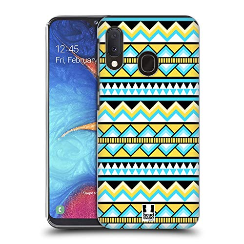 Head Case Designs Yellow and Blue Aztec Patterns S2 Hard Back Case Compatible for Samsung Galaxy A20e (2019) (Galaxy Case S2 Aztec Samsung)