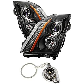 Cadillac CTS/CTS-V Halogen Only (Dont fit HID Model) Projector Headlights Black Housing With Clear Lens+ Free Gift Key Chain Spinning Turbo Bearing