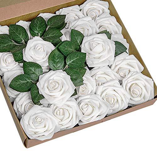 YSBER Roses Artificial Flowers - 25Pcs Big PE Foam Rose Artificial Flower Head for DIY Wedding Bouquets Centerpieces Bridal Shower Party Home Decorations (25 PCS, White)