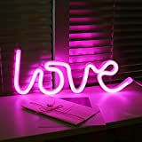 AIZESI Neon Light,Neon Lamps,Love Neon Signs Marquee Battery or USB Operated Table Ligths Wall Decoration for Girls Bedroom,Living Room, Christmas,Party as Children Gift(Pink Love)
