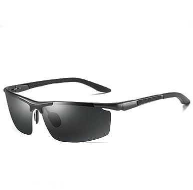 5125612ba8 Amazon.com  LUOMON Polarized Wrap-Around Sport Sunglasses for Men Al-Mg  Aloy Black Frame Grey Semi Rimless Lens Polarized Sun Glasses LM003   Clothing