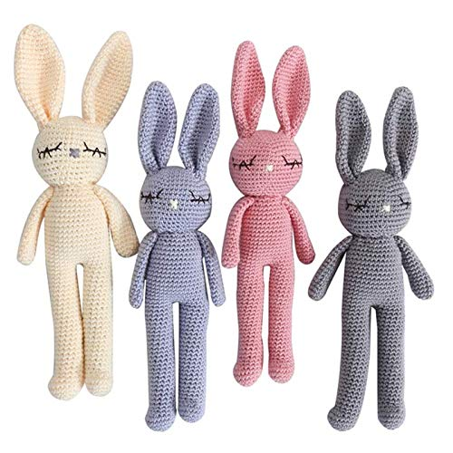 Moni's Choice Knitted Stuffed Bunny Rabbit Plush Toy 100% Handmade Amigurumi Stuffed Toy, Children's Day Gift, Newborn Baby Photography - Rabbit Crochet