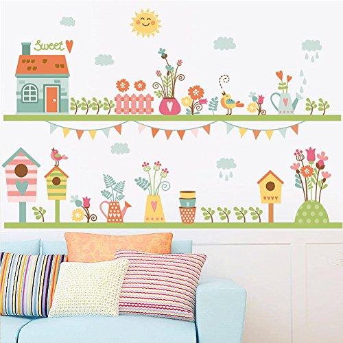 BIBITIME House Sweet Quotes Garden Flower Vinyl Sticker Birds Birdcages Wall Decal Cute Sun Rainy Cloud PVC Decor for Nursery Bedroom Kids Room DIY (Border Wallpaper Cloud)