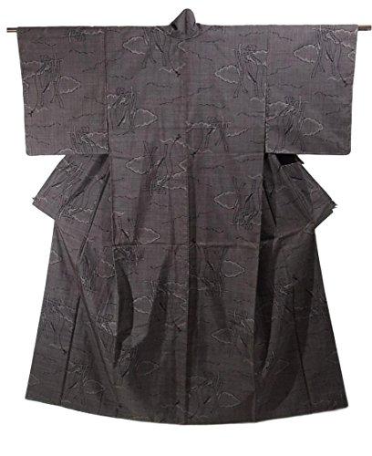 先のことを考える代わりのライトニングリサイクル 着物 大島紬  一元式5マルキ 正絹 袷 雲に熨斗文様 裄63.5cm 身丈160cm