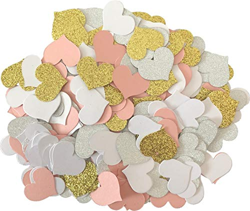 """Heart Confetti - 400 Pack 1.2"""" Glitter Heart Confetti in Gold Pink White and Silver for Baby Shower Decoration and Valentine"""