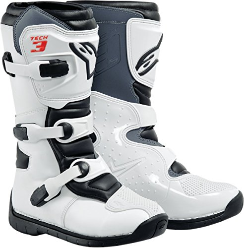 Alpinestars Tech 3S Boy's Off-Road Motorcycle Boots - White/Black / 13 by Alpinestars