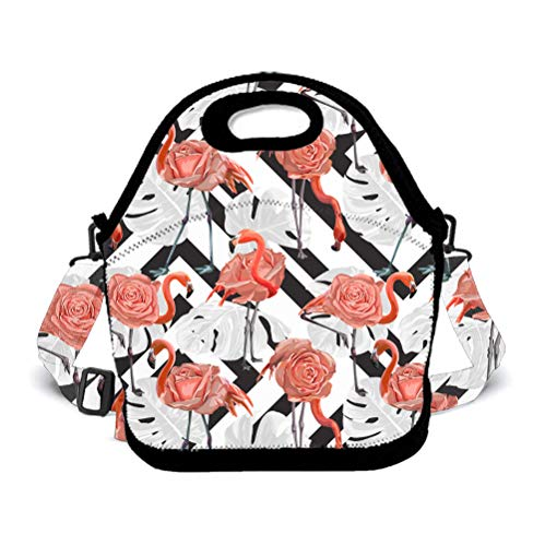 POP MKYTH Insulated Lunch Box - Pink Flamingo Palm Leaf - Water-Resistant Lunch Bag with 3D Shoulder Strap for School/Picnic/Camping, for Men Women Boys Girls Kids -
