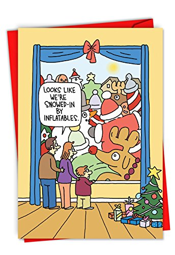 Inflatables - 12 Funny Christmas Greeting Cards with Envelopes (4.63 x 6.75 Inch) - Funny Lawn Blow-Up Cartoon, Holiday Note Card - Boxed Merry Christmas Card Set C6243XSG-B12x1