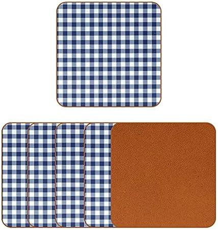 Posavasos de piel sintética con patrón de cuadros azul marino y blanco para bebidas, paquete de 6 posavasos cuadrados para bebidas para el hogar o el bar, regalo de inauguración de la casa