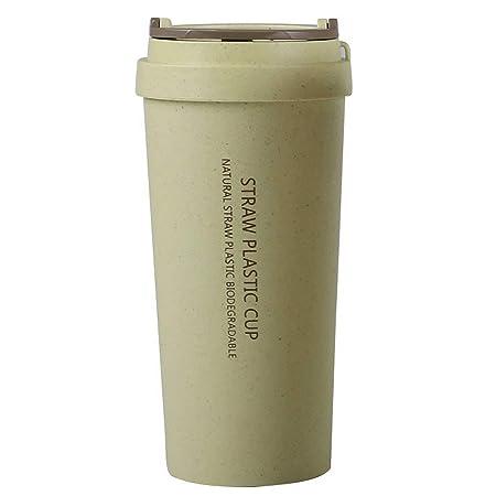 Taza de doble pared a prueba de fugas, 500 ml, aislante de paja de ...